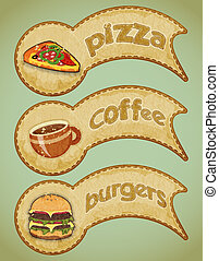 Retro fast food labels - vintage fast food labels - the food...