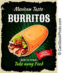 Retro Fast Food Mexican Burritos Poster