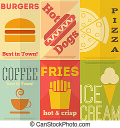Retro fast food posters collection - Retro Fast Food Posters...