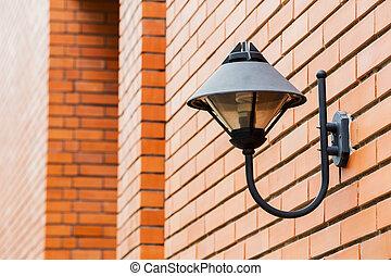retro, fekete, lámpa, képben látható, piros tégla közfal