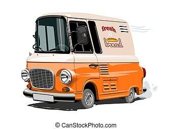 retro, felszabadítás furgon, vektor, karikatúra