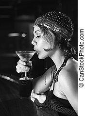 retro, femme, boire, martini.