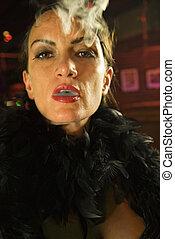 retro, femme, smoking.