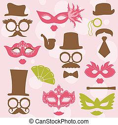 retro, fiesta, conjunto, -, anteojos, sombreros, labios, bigotes, máscaras, -, para, diseño, puesto foto, álbum de recortes, en, vector