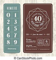 retro, fiesta de cumpleaños, invitación, tarjeta, con, editable, números