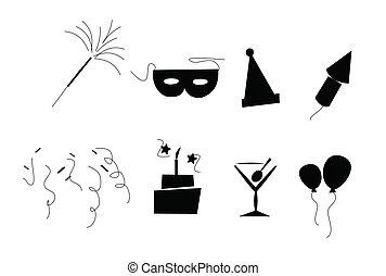 retro, fiesta, elementos