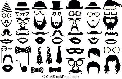 retro, fiesta, set., anteojos, sombreros, labios, bigotes, corbata, barba, monóculo, icons., vector, ilustración, silueta