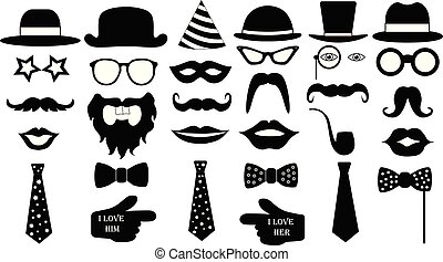retro, fiesta, set., anteojos, sombreros, labios, bigotes, corbata, monóculo, icons., vector, ilustración