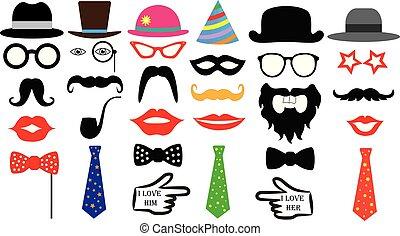 retro, fiesta, set., anteojos, sombreros, labios, bigotes, corbata, monocle., aislado, vector.