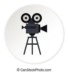 Retro film camera icon, flat style