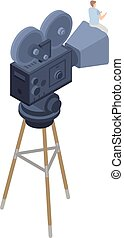 Retro film camera icon, isometric style