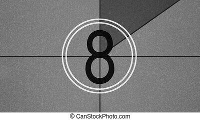 retro, film, countdown
