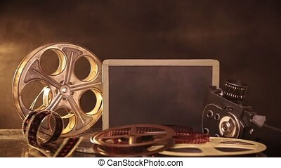 retro, film, fabriekshal, accessoires, stilleven