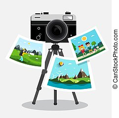 Retro Film Photo Camera on Tripod with Pictures on Paper - Vector Digital Photography Symbol