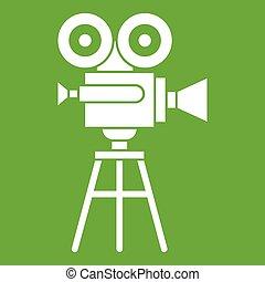 Retro film projector icon green