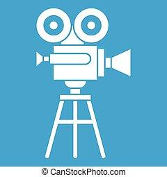 Retro film projector icon white