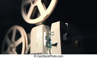 Retro film projector playing in the dark room. Old-fashioned antique super 8mm film projector projecting beam of light. Vintage objects, cinematograph concept.