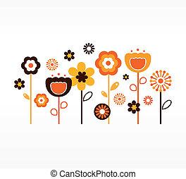 retro, fiori primaverili, collezione, (, arancia, e, marrone, )