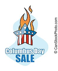 Retro Fire Star Columbus Day Sale