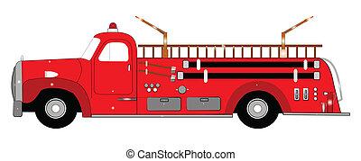 retro, firetruck