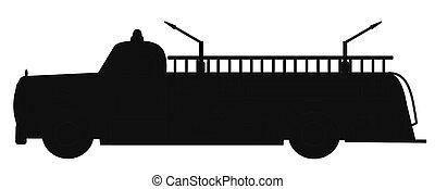 retro, firetruck, silueta