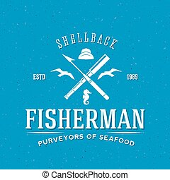 Retro Fisherman Vector Logo or Label Template with Textured...