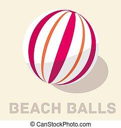 retro flat beach ball icon concept. vector illustration design