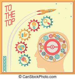 Retro Flat Design Businessman Head Thought Idea Generation Gear Wheel Icons Space Background Vector Illustration