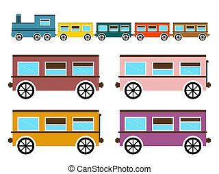 Retro Flat Design Trains Isolated on White Background Vector Illustration