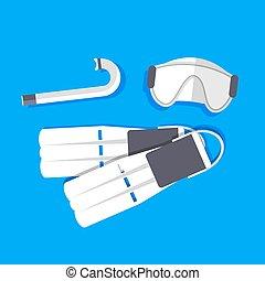 retro flat diving tools icon concept. vector illustration design
