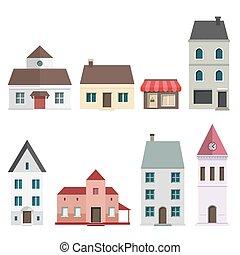 Retro Flat House Icons and Symbols set vector