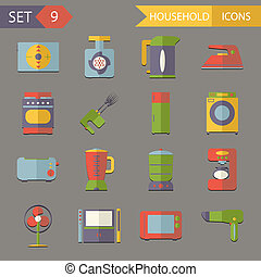 Retro Flat Household Icons and Symbols Set Vector Illustration