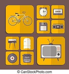 Retro flat icons in orange color. Vector illustration.