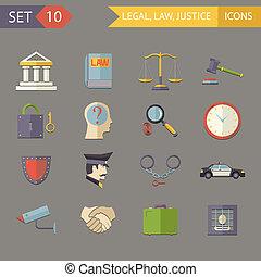 Retro Flat Law Legal Justice Icons and Symbols Set Vector Illustration
