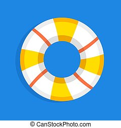 retro flat lifebuoy icon concept. vector illustration design