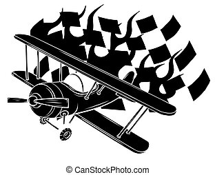 Retro flat looking plane and emblem with wings, flame and propeller vector