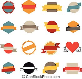 Retro flat vector banners template collection isolated on white
