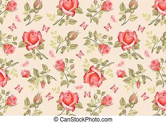 retro, fleur, card-, roses