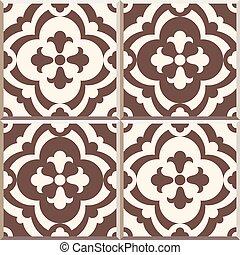 Retro Floor Tiles patern, set of four patterns - Set of four...