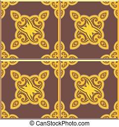 Retro Floor Tiles patern, yellow and brown - Floor tiles -...