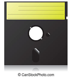 Retro floppy disk with green striped label