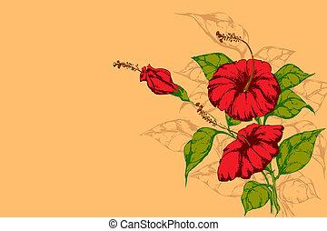 retro, flor