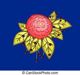 retro, flor, elemento