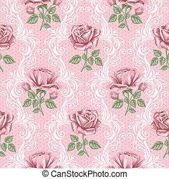 retro, flor, seamless, padrão, -, rosas