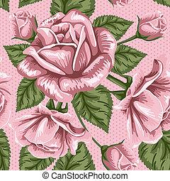 retro, flor, seamless, patrón, -, rosas
