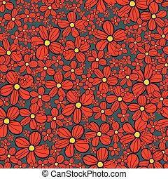 Retro floral allover daisy seamless pattern background
