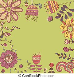 Retro floral background, frame with flowers