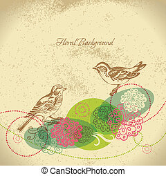 Retro floral background with bird
