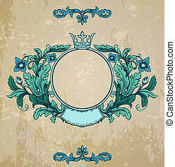 Retro floral cartouche. Hand drawn banner and ribbon vector illustration with texture added.