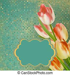 retro, floral, con, punto, tulips., eps, 10